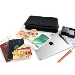 GEO FLIGHT ショルダーとしても使えるオールインワンオーガナイザー パスポート、航空券、タブレット、スマホ、充電器、外貨、カード、ペンをまとめて収納。