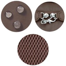 カナナプロジェクト 2WAYリュック 小サイズ はっ水(テフロン )加工。/メインファスナーのセーフティロックは背負っている時に心強い。/ベルト裏は蒸れにくいメッシュ素材。