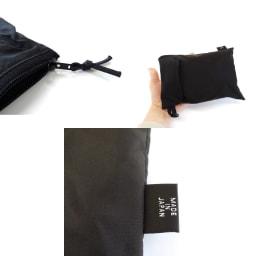 大型折りたたみファスナートート Lサイズ 付属の収納ケースに折りたたんで入れれば、手のひらサイズになります。