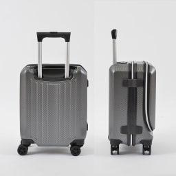 AMERICAN FLYER(アメリカンフライヤー)/ フロントオープン スーツケース キャリーケース・キャリーバッグ 24L…(エ)カーボンブラックBack/Side