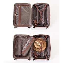 (Mサイズ 4輪/65L/3.43kg)Stratic(ストラティック)/「Leather & More」日本限定版 ハードスーツケース 中型(3-9902-65)|キャリーケース・キャリーバッグ Sサイズ/片側にはファスナー付きポケットと仕切りが、もう片側には固定ベルトを設置