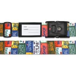 TSAロック付きスーツケースベルト 転写柄(アメリカ旅行の必需品) (ア)ナンバープレート柄