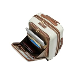 Stratic(ストラティック)/ 「Leather&More(レザー&モア)」フロントオープンスーツケース ドリンクホルダー付き 機内持込 4輪 33L 3.30kg キャリーケース・スーツケース