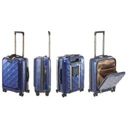 Stratic(ストラティック)/ 「Leather&More(レザー&モア)」フロントオープンスーツケース ドリンクホルダー付き 機内持込 4輪 33L 3.30kg キャリーケース・スーツケース (ア)ネイビーブルー