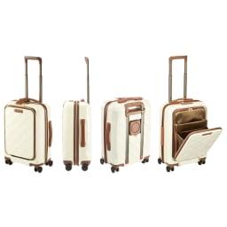 Stratic(ストラティック)/ 「Leather&More(レザー&モア)」フロントオープンスーツケース ドリンクホルダー付き 機内持込 4輪 33L 3.30kg キャリーケース・スーツケース (ウ)ミルク