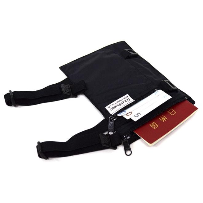 SOLO TOURIST(ソロツーリスト)/貴重品を隠す レッグ&アームポーチ (ア)ブラック…パスポートサイズです