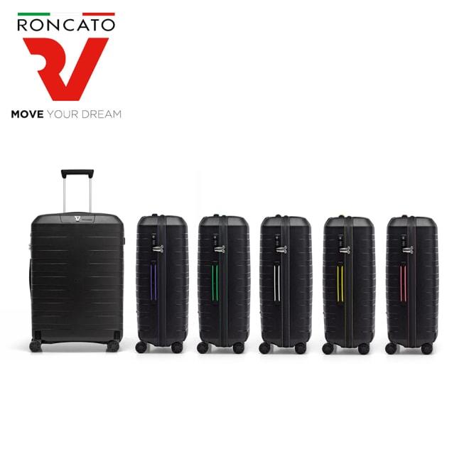 RONCATO(ロンカート)/BOX スーツケース キャリーケース・キャリーバッグ (ア)ブラック/ブラック、(イ)ブルー/ブラック、(ウ)グリーン/ブラック、(エ)ホワイト/ブラック、(オ)イエロー/ブラック、(カ)ピンク/ブラック
