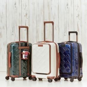 Stratic(ストラティック)/ 「Leather&More(レザー&モア)」フロントオープンスーツケース ドリンクホルダー付き 機内持込 4輪 33L 3.30kg|キャリーケース・スーツケース 写真