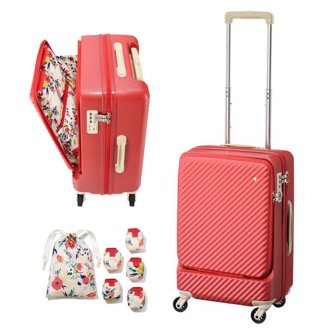 ACE HaNT(ハント) フロントポケット付スーツケース 内装柄と同生地のキャスターカバー&巾着ポーチ付
