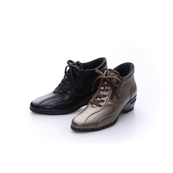 神戸シューズ 時見の靴/牛革エアーヒールショートブーツ 左から(ア)ブラック、(イ)ブロンズ