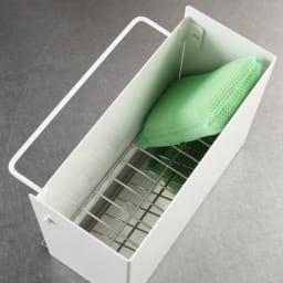 FRAMES&SONS(フレームズアンドサンズ)/kakusu(カクス)シリーズ 洗剤&スポンジラック 収納内部構造