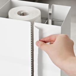 FRAMES&SONS(フレームズアンドサンズ)/kakusu(カクス)シリーズ キッチンペーパー&ラップホルダー 片手でペーパーを切ることができます