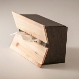 橋本達之助工芸/国産 紀州檜天然木 3WAYティッシュケースボックス 横置き時