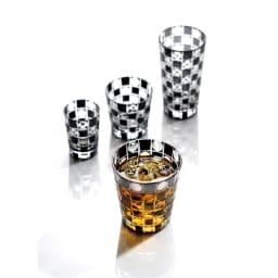 木本硝子/KIKI TAMA-ICHIMATSU(玉市松) オールド|黒の江戸切子グラス サイズは全4種。飲み方に合わせてチョイスしてください。
