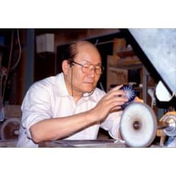 木本硝子/KIKI TAMA-ICHIMATSU(玉市松) オールド|黒の江戸切子グラス 切子工芸士:林恒司