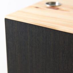 橋本達之助工芸/紀州檜天然木リビングダストボックス容量45L(2分別対応可能)|ゴミ箱 ベースボディは木目柄が入ったブラックパネルを採用。