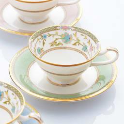 Noritake(ノリタケ)/ヨシノ ティー・コーヒー碗皿ペアセット(グリーン・ピンク)|洋食器 グリーン