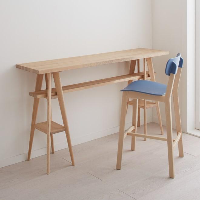 国産タモ天然木オーダーカウンタテーブル 幅150cm 朝食カウンターやワーキングデスクとして。