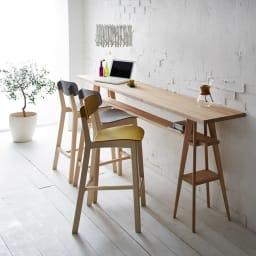 国産タモ天然木オーダーカウンタテーブル 幅210cm カフェ風のカウンターテーブルが簡単に設置できます(写真はカウンター幅180cmです)