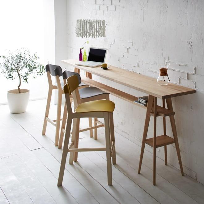 国産タモ天然木オーダーカウンタテーブル 幅220cm カフェ風のカウンターテーブルが簡単に設置できます(写真はカウンター幅240cmです)