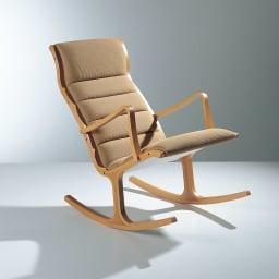 天童木工/ヘロン ロッキングチェア(S-5226)|デザイナーズ家具 ※写真は旧仕様の為色目が若干異なります。フレームはグレー、グリーンの商品写真を、生地は(エ)ベージュ生地見本を参照ください。