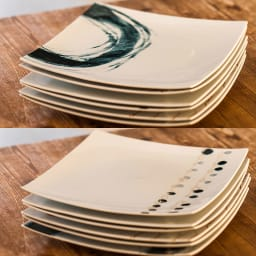 ARITA PORCELAIN LAB(アリタ・ポーセリン・ラボ)/正方皿(特大)|有田焼 (ア)墨刷毛、(イ)墨銀水玉…重ねて収納