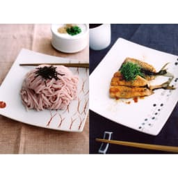 ARITA PORCELAIN LAB(アリタ・ポーセリン・ラボ)/正方皿(中)|有田焼 ウ:松/イ:墨銀水玉…盛り付けイメージ