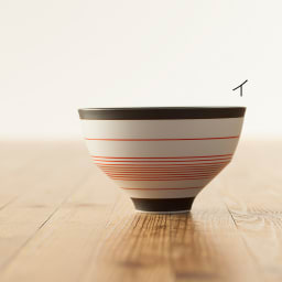 ARITA PORCELAIN LAB(アリタ・ポーセリン・ラボ)/飯碗/茶碗 呉須錆線紋|有田焼 イ:赤