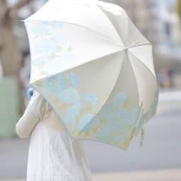 創業1866年槙田商店/ジャカード織 晴雨兼用長傘(UVカット加工) 絵おり 紫陽花