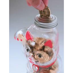 廣田硝子(ヒロタガラス)/招き猫 貯金箱 500円玉が200枚以上入ります