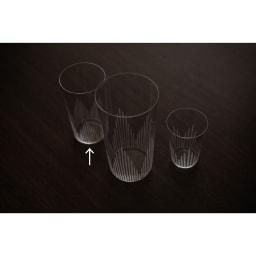 廣田硝子(ヒロタガラス)/東京復刻ガラス BRUNCH 千本 5オンスタンブラー 真ん中は10オンス(NV4609)、右は2オンス(NV4611)