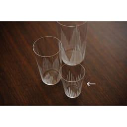 廣田硝子(ヒロタガラス)/東京復刻ガラス BRUNCH 千本 2オンスタンブラー 手前のサイズが2オンスです