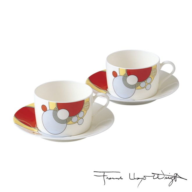 Noritake(ノリタケ)/フランク・ロイド・ライト デザイン ティー・コーヒーカップ&ソーサー ペアセット(2客組)|洋食器
