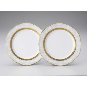 Noritake(ノリタケ)/ハンプシャーゴールド 23cmアクセントプレート(お皿)ペアセット(2枚組)|洋食器 写真
