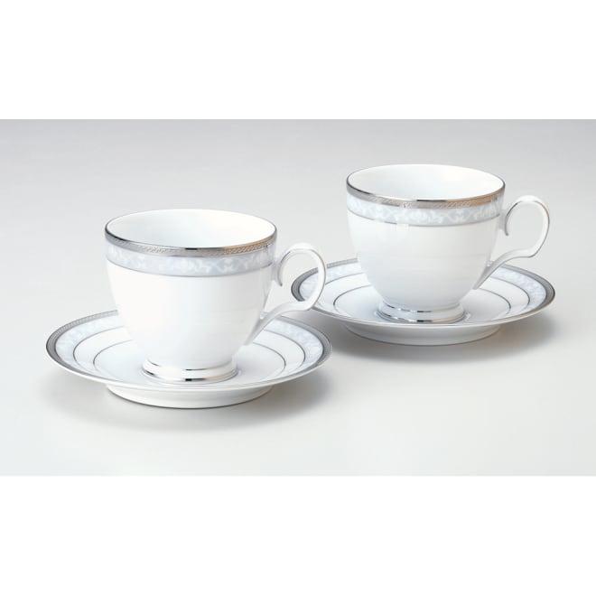 Noritake(ノリタケ)/ハンプシャープラチナ ティー・コーヒーカップ&ソーサー ペアセット(2客組)|洋食器