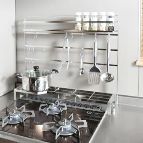 FRAMES&SONS(フレームズアンドサンズ)/18-8ステンレス キッチンツールハンガー(幅60用) 写真