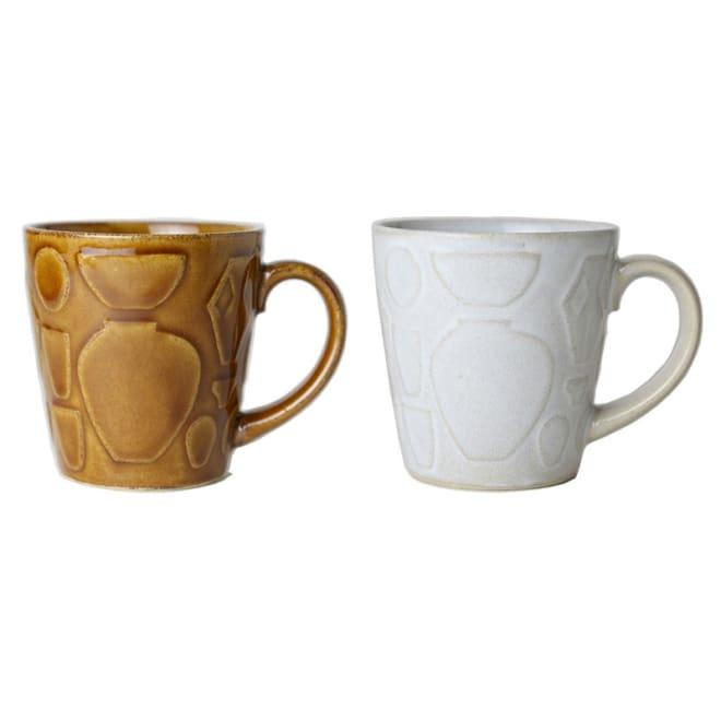 つかもと/レリーフシリーズ マグカップ|益子焼 (左)飴釉 (右)糠白釉