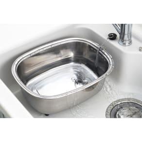 キッチンシンク脚付ステンレス洗い桶(中栓付き) 写真
