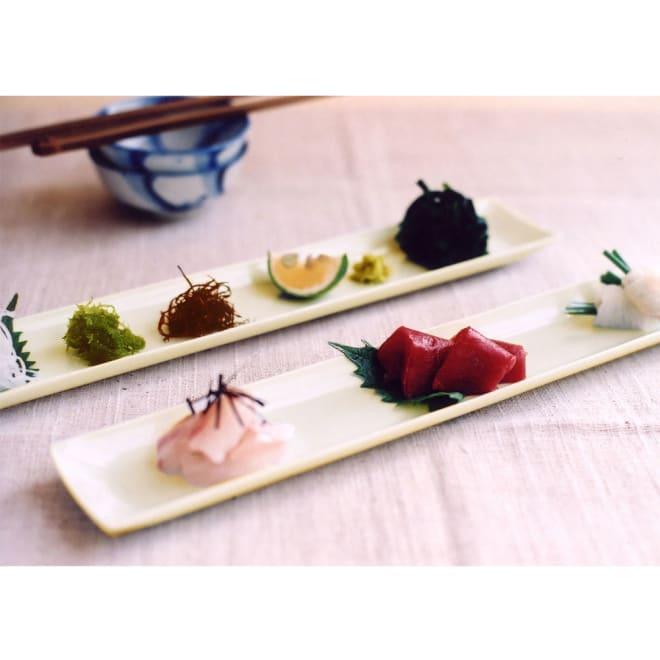 ARITA PORCELAIN LAB(アリタ・ポーセリン・ラボ)/長角皿 hakuji/白磁|有田焼 ちょっとした小さな前菜や酒肴、お刺身を2~3点盛りつけたり、薬味皿として使ったり、 ナッツやドライフルーツ、グリッシーニなどをちょっとつまんだりするときなど、粋な使い方が出来そう