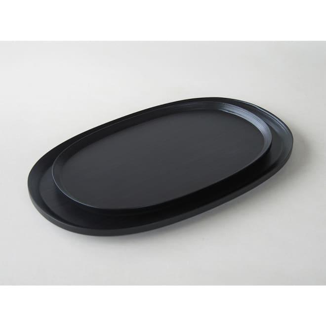 BUNACO トレイ オーバル(楕円) (イ)ブラック 上から:サイズM、Lとなります。