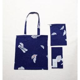 都もだん 九通り手ぬぐいトートバッグ 3点セット 京野菜冬 同柄のトートバック、巾着、手拭いのセット