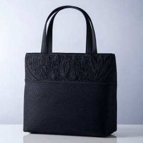 米沢織切替コード刺繍アクセントバッグ 写真