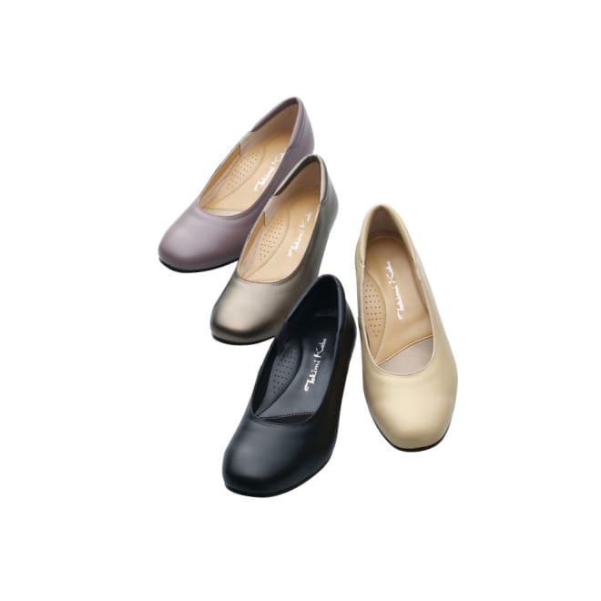 神戸シューズ 時見の靴/スクエアパンプス 3.5cm ウエッジヒール 左上から(エ)グレイッシュローズ、(ア)ブロンズ、(ウ)ブラック、(イ)パールベージュ