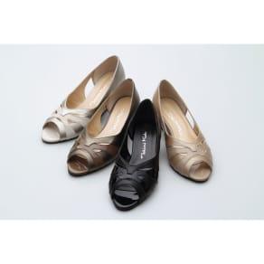神戸シューズ 時見の靴/オープントゥパンプス 5cm 写真