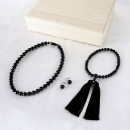 岩佐/天然10mmジェットネックレス&イヤリング(ピアス)&念珠 3点セット ネックレス、イヤリング(またはピアス)、念珠の3点セット