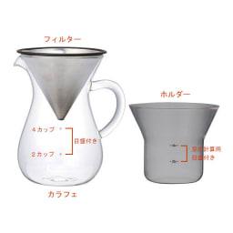KINTO スローコーヒースタイル コーヒーカラフェセット600ml カラフェ、ホルダー、ステンレスフィルター全てのパーツを重ねられコンパクトに収納できます。