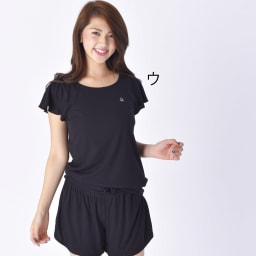 BENETTON(ベネトン)/接触冷感ラッシュTシャツ ショートパンツ付きセットアップ (ウ)ブラック