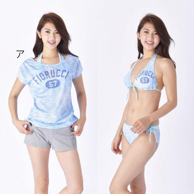 FIORUCH 星柄ドットメッシュカバーアップTシャツ付ビキニ水着4点セット (ア)ブルー