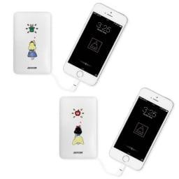 ケーブル内蔵型モバイルバッテリー 5000mAh (サ)童話アリスモチーフ、(シ)童話白雪姫モチーフ