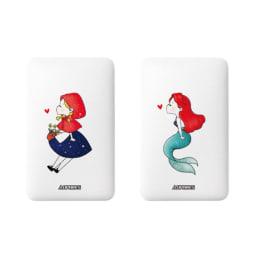 ケーブル内蔵型モバイルバッテリー 5000mAh (ケ)童話赤ずきんモチーフ、(コ)童話人魚姫モチーフ